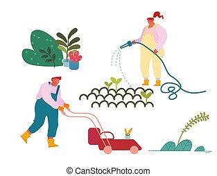 passe-temps, fauchage, caractères, garden., vecteur, fonctionnement, heureux, ou, flowers., dessin animé, paysan, soucier, arrosage, homme, jardinage, femme, jardinier, planter, illustration, plat, occupation., pelouse, usines, été