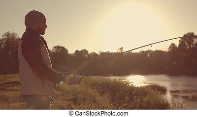 passe-temps, poisson attrapant, tige, été, pêcheur, loisir,...