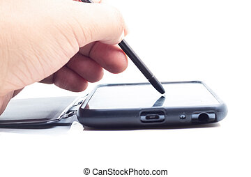 passe tocar tela, ligado, modernos, móvel, esperto, telefone