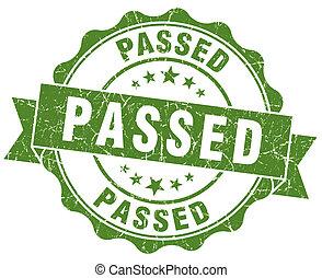 passed green grunge stamp