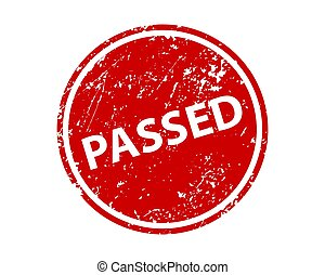 Passed sign sticker. Stamp vector texture.