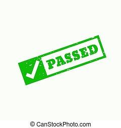 passed stamp checkmark sign and symbol