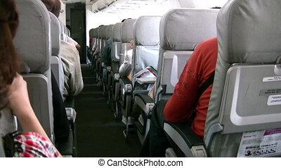 passeggeri, in, tremante, aereo