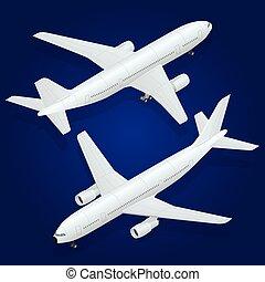 passeggero aeroplano, aereo, icon., isometrico, trasporto, alto, -, appartamento, 3d, qualità