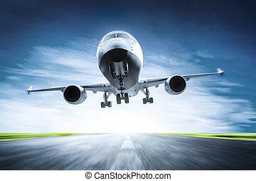passeggero, aeroplano decolla, su, pista