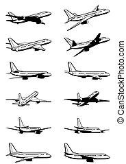 passeggero, aeroplano, prospettiva