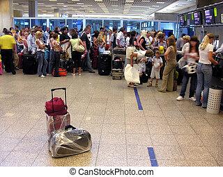 passeggero, aeroporto, bagaglio