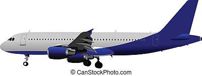 passeggero, airplanes., colorato, vect