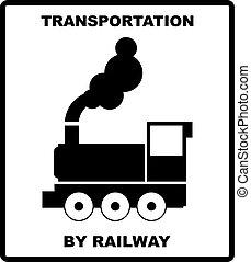 passeggero, box., trasporto, illustration., carico, ferrovie, isolato, spedizione marittima, vettore, nero, silhouette, bianco, bandiera