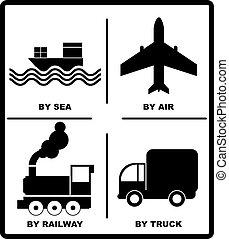 passeggero, box., trasporto, illustration., carico, ferrovie, trucks-, aereo, isolato, spedizione marittima, vettore, mar nero, silhouette, bianco, bandiera