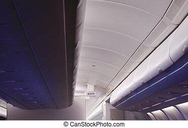 passeggero, custodia, roba, tetto, commerciale, gabinetto, aereo, alto, rimuovere segno, cabina