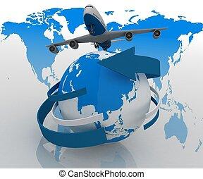 passeggero, intorno, jet, viaggi, mondo, aeroplano, 3d