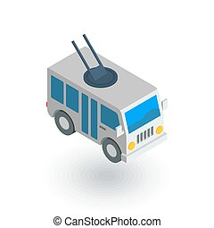 passeggero, isometrico, appartamento, trolleybus, vettore, icon., trasporto, 3d