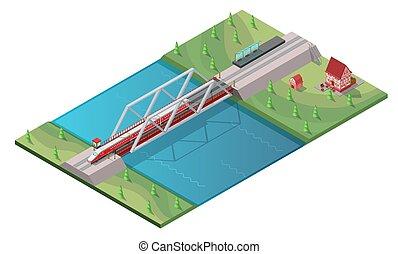 passeggero, isometrico, concetto, alto, treno, velocità