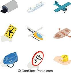 passeggero, isometrico, icone, set, stile, motore, trasporto