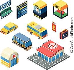 passeggero, isometrico, trasporto, icone