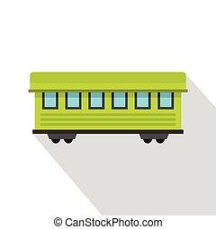 passeggero, stile, appartamento, automobile, treno, icona