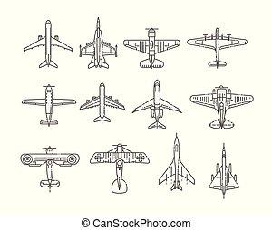 passeggero, stile, appartamento, transport., aircraft., moderno, illustrazione, aria, grande, vettore, piccolo, planes., tipi