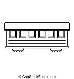 passeggero, stile, contorno, automobile, treno, icona