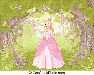 passeggiare, principessa, in, il, fantastico