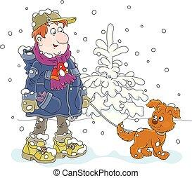 passeggiata, cane, inverno