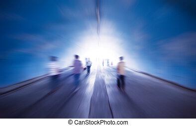 passeggiata, in, il, luce