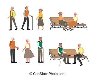 passeggiata, panca, persona sedendo, sambuco, set., esterno, vecchie persone