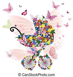 passeggino, di, fiori, e, farfalle