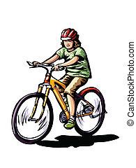 passeio, bicicleta