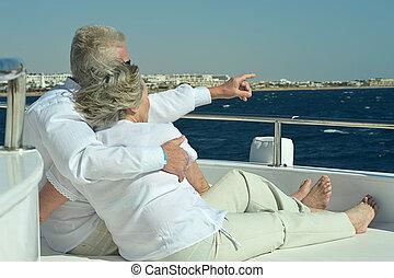 passeio, bote, par, ter, mar