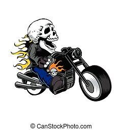 passeio, ciclo, motor, cranio, cavaleiro