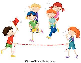 passeio, costas, tocando, raça, piggy, crianças
