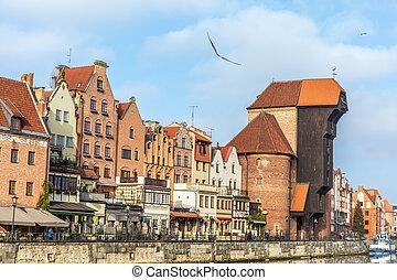 passeio, em, gdansk, por, a, motlawa, rio, vista, ligado,...