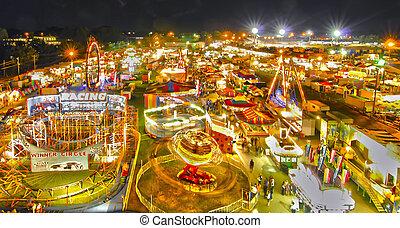 passeio, em, município, ou, feira estatal, em, noite