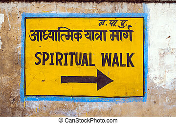 passeio, espiritual, sinal, parede