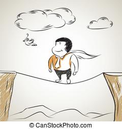 passeio, homem negócios, tightrope