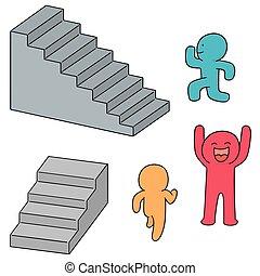 passeio, jogo, upstair, vetorial, pessoas