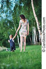 passeio, mãe, bonito, criança