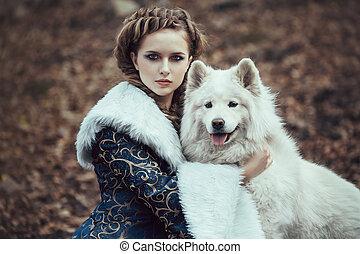 passeio, mulher, inverno, cão