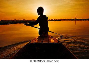 passeio, pôr do sol, bote