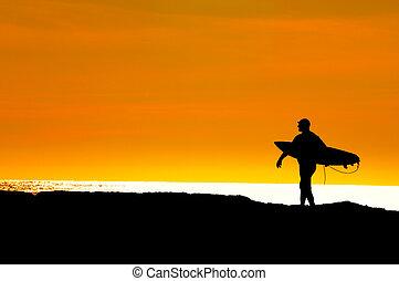 passeio, pôr do sol, título, mar, surfista