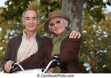 passeio, par, bicicleta, floresta, idoso