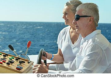 passeio, par, sênior, bote, tendo