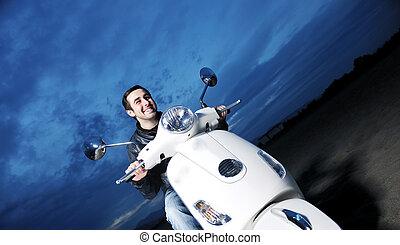 passeio, scooter, retro, homem, jovem