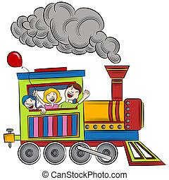 passeio, trem, crianças