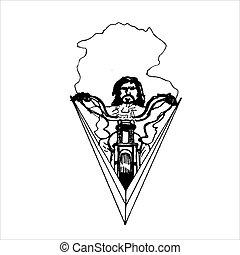 passeios, biker, motorcycle., drawing., pretas, branca