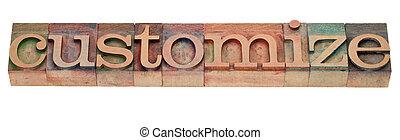 passen aan, -, woord, letterpress, type