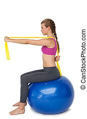 passen, bal, het uitoefenen, lengte, volle, vrouw, fitness