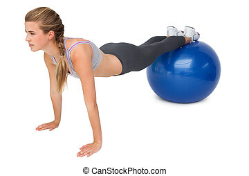 passen, bal, stretching, lengte, volle, vrouw, fitness