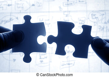 passen, raadsel, twee, samen, stukken, handen, het proberen